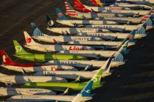 Boeing 737 MAX airplanes, photographed earlier this month, remain parked at Grant County International Airport in Moses Lake, Washington as the entire MAX fleet remains grounded.  By David Ryder (GETTY IMAGES NORTH AMERICA/AFP/File)
