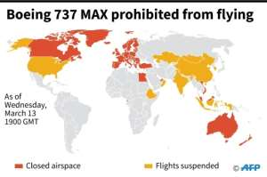 Countries that have closed their airspace and suspended flights of the Boeing 737 Max aircraft, as of Wednesday, March 13 at 1900 GMT. By Sabrina BLANCHARD (AFP)