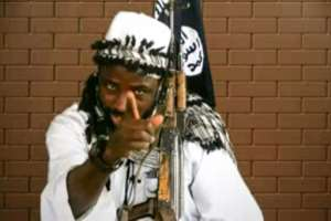 Boko Haram leader Abubakar Shekau has so far managed to evade the Nigerian security services.  By Handout (BOKO HARAM/AFP/File)