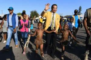 Botswana former president Ian Khama (C) has quit the BDP and thrown his support behind its strongest rival -- opposition coalition Umbrella for Democratic Change (UDC).  By MONIRUL BHUIYAN (AFP)