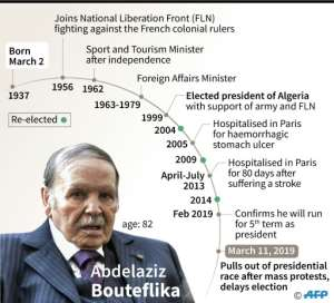 Bouteflika, who is 82 years old, uses a wheelchair and has rarely appeared in public since suffering a stroke in 2013, said he would pull out of the race but also postponed the elections.  By Simon MALFATTO (AFP/File)
