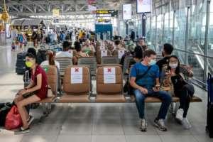 Blocked out seats ensure travellers observe social distancing rules at Suvarnabhumi Airport in Bangkok.  By Jack TAYLOR (AFP)