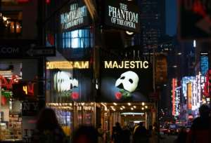 Broadway theaters will not reopen until at least September 2020.  By Angela Weiss (AFP/File)
