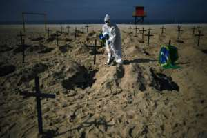 Brazil has the highest number of virus deaths in Latin America, and third highest in the world.  By CARL DE SOUZA (AFP)