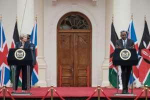 British Prime Minister Theresa May and Kenyan President Uhuru Kenyatta address a joint press conference in Nairobi.  By Yasuyoshi CHIBA (AFP)