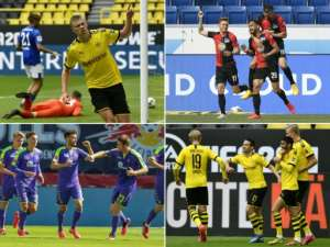 Bundesliga players celebrating goals, some practising social distancing -- such as Dortmund's Erling Braut, top left -- and some not.  By MARTIN MEISSNER, THOMAS KIENZLE, JAN WOITAS (POOL/AFP)