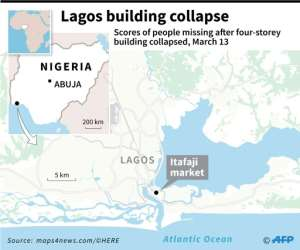 Close-up map of Lagos locating the area where a four-storey building collapsed with school children trapped.. By Sophie RAMIS (AFP)