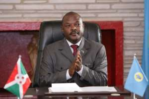 Burundi's President Pierre Nkurunziza, pictured June 2018, has decided not to seek reelection, but the UN Security Council has criticised the slow progress in talks between Burundi's government and the opposition.  By STR (AFP/File)