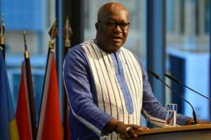 Burkina Faso President Roch Marc Christian Kabore's cabinet has been working by video-conferencing.  By John MACDOUGALL (POOL/AFP)