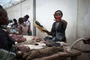 Bushmeat -- wild animals that are killed and butchered for their meat -- is considered a potential source of Ebola.  By FLORENT VERGNES (AFP)
