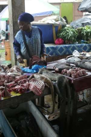 Bushmeat: A market stall in Libreville, the Gabonese capital, where pangolin and other wild animals are sold for food.  By Steeve JORDAN (AFP)