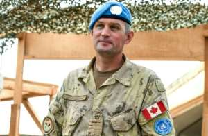 Canadian lieutenant colonel Chris McKenna, commander of the Canadian air troops in the northeast Malian city of Gao.  By SEYLLOU (AFP)