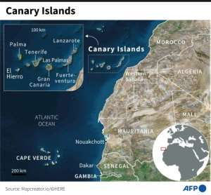 Satellite map of the Canary Islands and the African coast.  By Gillian HANDYSIDE (AFP)