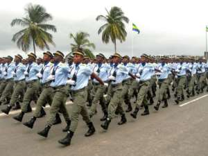 Female members of the gendarmerie participate in the Gabon national day parade.  By Patrick Fort (AFP)