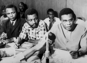 Capitulation: Biafran military chief General Philip Effiong, right, and Colonel David Ogunewe, centre, on January 12 1970.  By  (AFP)