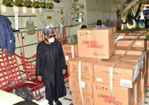 Care package: 100,000 masks, 1,000 protective suits and 20,000 test kits are flown into Nigeria -- a donation from Chinese tycoon Jack Ma, who has vowed to provide similar help to every country in Africa.  By Kola SULAIMON (AFP/File)