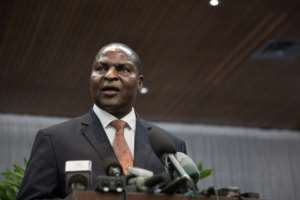 Central African Republic's President Faustin-Archange Touadera did not accept Russia's offer to hold a meeting between government and rebel representatives in Khartoum.  By FLORENT VERGNES (AFP/File)