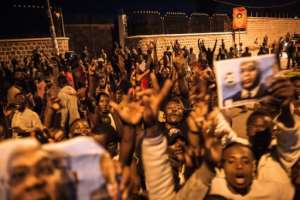 Celebrations erupted among Tshisekedi's supporters after the announcement that he had won DR Congo's contested election.  By ALEXIS HUGUET (AFP)