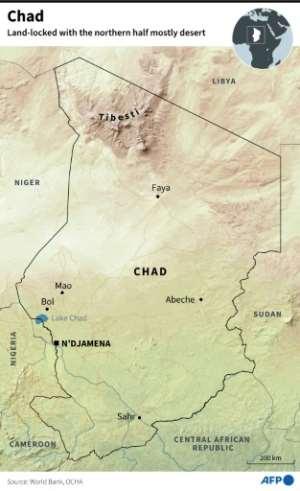Map of Chad.  By Patricio ARANA (AFP)