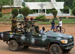 Seleka rebels on a pick-up truck in Bangui on March 30, 2013.  By Sia Kambou (AFP/File)