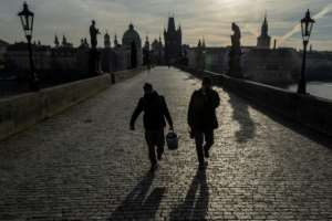 Charles Bridge in Prague is largely empty.  By Michal Cizek (AFP)