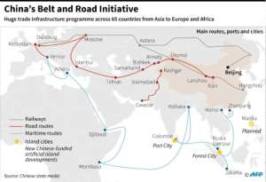 Graphic on China's massive infrastructure investment project including road, rail and ship routes around the world.  By Laurence CHU (AFP)
