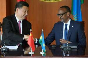 Chinese President Xi Jinping and Rwandan President Paul Kagame spoke with the press on Monday..  By SIMON MAINA (AFP)