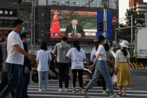 Chinese President Xi Jinping spoke via video link to the World Health Assembly.  By GREG BAKER (AFP)