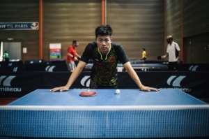 Chinese table tennis player Zhang Nan.  By Lucas Barioulet (AFP)
