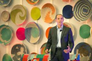 Chris Lehane, Airbnb's head of policy, speaking at an African tourism conference organised by Airbnb in Cape Town.  By RODGER BOSCH (AFP)