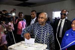 Comoros President Azali Assoumani cast his vote on Sunday. By GIANLUIGI GUERCIA (AFP)