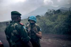 Congolese and UN forces secured the scene of the attack.  By ALEXIS HUGUET (AFP)