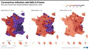Maps showing Covid-19 infection rate per French department over the past 3 weeks.  By  (AFP)