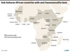 Map of Africa showing the 27 countries with anti-homosexuality laws, according to Human Rights Watch..  By  (AFP)