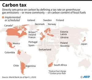 Countries that have implemented or are scheduled a carbon tax, according to World Bank data.  By Gal ROMA (AFP)