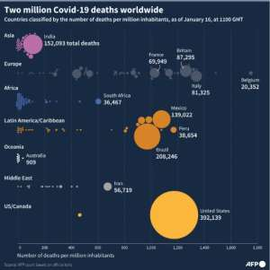 Countries with the largest number of deaths linked to the coronavirus since the start of the pandemic..  By Simon MALFATTO (AFP)