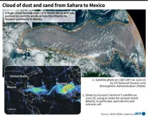 Satellite images of a massive cloud of dust and sand pushed by the wind from North Africa to Mexico..  By Patricio ARANA (AFP)