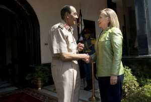 Hillary Clinton has repeatedly called on the Egyptian military to respect the outcome of the elections.  By Brendan Smialowski (AFP/Pool)