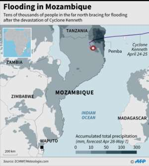 Map showing the path of Cyclone Kenneth and accumulated total precipitation forecast.. By (AFP)