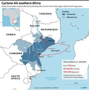 Map and factfile on flooding in cyclone-hit Southern Africa, as of March 27.. By (AFP)