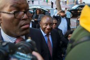 Cyril Ramaphosa (C), South Africa's deputy president and newly elected president of the ruling African National Congress (ANC), says he will tackle corruption in the country.  By RODGER BOSCH (AFP)