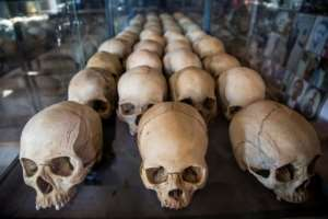 Dark past: Skulls of victims at the genocide memorial in Kigali. More than 800,000 people, most of them Tutsis, were slaughtered. By Jacques NKINZINGABO (AFP)
