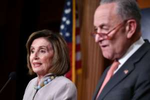 Democratic House Speaker Nancy Pelosi and Senator Chuck Schumer are calling for $500 billion in additional emergency coronavirus funding -- double what the White House asked for.  By MANDEL NGAN (AFP/File)