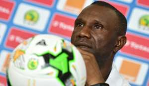 Democratic Republic of Congo coach Florent Ibenge during a 2017 Africa Cup of Nations media conference.  By ISSOUF SANOGO (AFP/File)