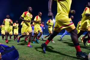 Democratic Republic of Congo's players take part in a training session in Oyem, Gabon, on January 14, 2017