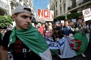 Demonstrators make their feelings known in Algiers on November 26, 2019.  By RYAD KRAMDI (AFP/File)