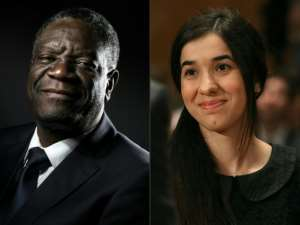 Denis Mukwege and Nadia Murad have dedicated their prize to the hundreds of thousands of women around the world who have endured sexual violence.  By JOEL SAGET, MARK WILSON (AFP/File)