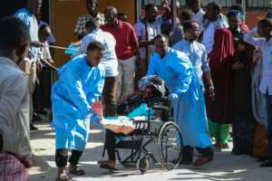 Dozens of people were wounded in the blast.  By Abdirazak Hussein FARAH (AFP)