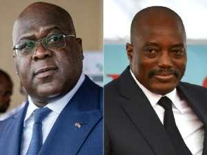 DR Congo has been shaken by a bitter dispute between President Felix Tshisekedi, left, and supporters of his predecessor Joseph Kabila.  By Tchandrou Nitanga, TONY KARUMBA (AFP/File)