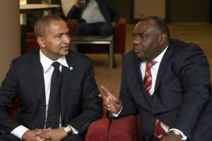 DR Congo opposition leaders Moses Katumbi, left, and Jean-Pierre Bemba in Brussels on Wednesday. Both have been ruled out of running for president in December elections.  By JOHN THYS (AFP)